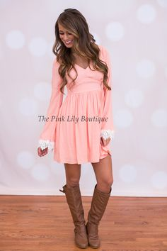 Fairytale Love Peach Dress - The Pink Lily Boutique