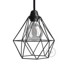 Abat-jour cage Diamond en métal couleur Noir culot E27