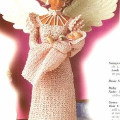 X800 Crochet PATTERN ONLY Fashion Doll Mother's Love Angel Gown Halo | BeadedBundles - Instructional on ArtFire