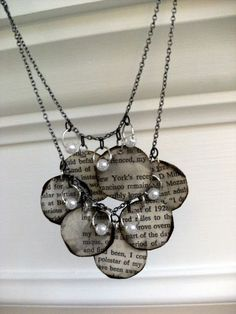 DIY Book Page Necklace. Would be great to use bible pages from a family members old bible