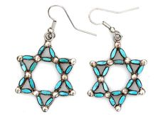 Sterling silver Zuni needlepoint turquoise star of David pierced earrings. Stars measure, 1 1/8 diameter; Earrings are 1 7/8 long; Total weight, 6