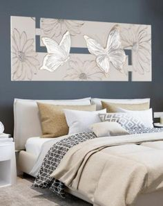 Home Interior Decoration Ideas Poppy Flower Painting, Butterfly Painting, Home Wall Decor, Bedroom Decor, Abstract Metal Wall Art, Mural Art, Canvas Artwork, Wall Prints, Interior Decorating