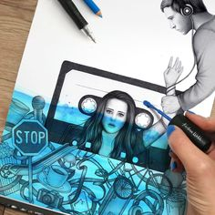 """21 mil Me gusta, 308 comentarios - Kristina Webb (@kristinawebb) en Instagram: """"I posted a video of this drawing on @colour_me_creative and wanted to post a still on here…"""""""