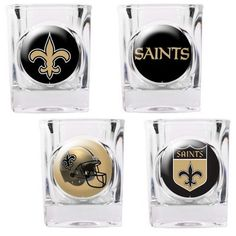 The New Orleans Saints Shot Glass Set includes 4 shot glasses depicting the changes in the Saints NFL logo and helmet designs through the years.  A great gift idea for Saints NFL fans!