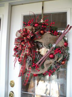 Christmas Wreath Holiday Wreath Burlap Wreath by KathysWreathShop, $45.00