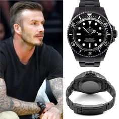 David Beckham with a Black Rolex Seadweller DLC- ( Luxury Watches, Rolex Watches, Watches For Men, Luxury Watch Brands, Best Watch Brands, Best Sports Watch, Black Rolex, Time And Tide, Sea Dweller