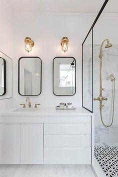 #BlackAndWhite #bathroom | 15 crisp, clean, classic interiors in black and white | @meccinteriors | design bites