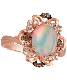 Jared Le Vian Opal Earrings 18 ct tw Diamonds 14K Strawberry Gold