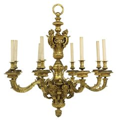 A FRENCH ORMOLU EIGHT-LIGHT CHANDELIER |  LATE 19TH CENTURY, IN THE MANNER OF ANDRE-CHARLES BOULLE