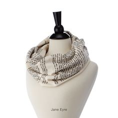 LITERARY SCARVES | Book Lover Infinity Scarf | UncommonGoods - Jane Eyre, Wuthering Heights and Alice in Wonderland