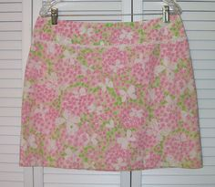 Lilly Pulitzer Ladies Skirt Size 10 Pink White Green Butterfly Flower #LillyPulitzer #ALine