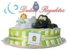 Tarta de pañales Dulce Verde 1 planta  Como su propio nombre indica, la más dulce de todas nuestras tartas. Un regalo personalizado que jamás olvidarán!!  Incluye un body y un babero bordado con uno de nuestros animalitos y el nombre del bebe  Solo 65€