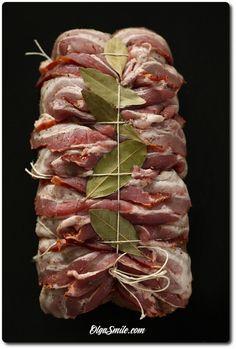 pork loin with bacon - bacon recipe - bacon - pork loin recipe - how to make pork loin - pork loin recipe - roasted bacon - how to make loin with bacon - how to make pork - pork - bacon - how to make meat Roasted Bacon, Pork Bacon, Bacon Recipes, Pork Loin, Asparagus, Sushi, Shrimp, Meat, Vegetables