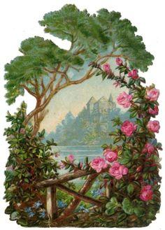 Lovely pink roses and vintage landscape | 20 free vintage printable images for spring on Remodelaholic.com