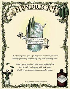 "Hendrick's Most Unusual Gin Ad Mini Poster Wall Art Print 8x11"" Hendrick's & Tonic Cucumber Garnish Recipe Advertisement - Free USA Shipping..."