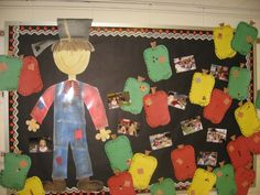 johnny appleseed, apple glyph, scarecrows, pumpkins