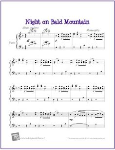 Night on Bald Mountain - Free Easy Piano Sheet Music Easy Piano Sheet Music, Piano Music, Music Sheets, Piano Keys, Free Printable Sheet Music, Free Sheet Music, Piano Sheet Music Classical, Piano Teaching, Learning Piano