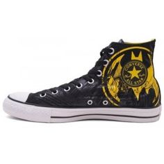 d9f4130f65eba5 discount Converse Shoes Black DC Comics Batman Caped Crusader Yellow Logo  Womens Mens Canvas Sneakers Hi Tops