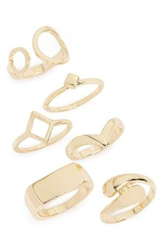 Topshop Geometric Rings (Set of 6) available at #Nordstrom