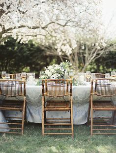 Patterned Linens and Rustic Chairs | Krista A. Jones Fine Art Photography | Artistic French Blue Wedding