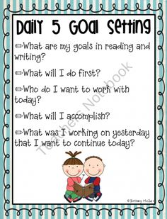 Daily 5 Student Goal Setting Poster {FREE} product from LearningIsAJourney on TeachersNotebook.com