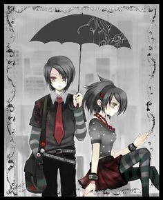Cute Anime couple. The umbrella caught my eye.