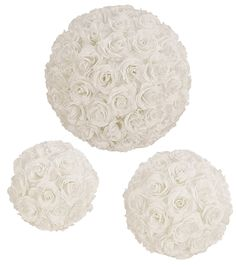 Rose balls    Polystyrene spheres covered in fabric roses with nylon hanging loop    Available in 3 sizes        22cm diameter      28cm diameter      37cm diameter