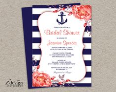 Nautical Bridal Shower Invitation | Printable Navy Blue And White Stripe Wedding Shower Invitations With Coral Peonies By iDesignStationery On Etsy