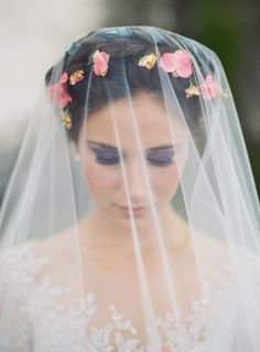 Wedding Day Inspiration from the Jose Villa Mexico Workshop - Wedding Crown Wedding Hair Pins, Wedding Hair And Makeup, Wedding Veils, Bridal Hair, Wedding Dresses, Veil Over Face, Wedding Hairstyles 2017, Wedding Day Inspiration, Garden Party Wedding