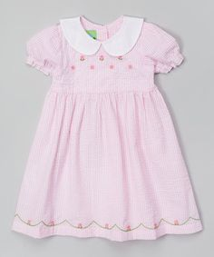 Look at this #zulilyfind! Pink Stripe Flower Puff-Sleeve Dress - Infant & Toddler by Lil Cactus #zulilyfinds