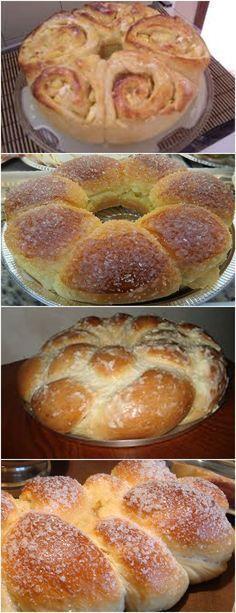"""ROSCA CREMOSA,GENTE PENSA EM UMA MASSA FOFINHA E CREMOSA!! VEJA AQUI>>>Como a rosca vai crescer, esses """"pingos"""" de massa vão se unir e formar a rosca Espere crescer até que dobrem de volume e coloque para assar a 180º, até que fique dourada #receita#bolo#torta#doce#sobremesa#aniversario#pudim#mousse#pave#Cheesecake#chocolate#confeitaria"""