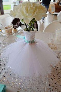 Wedding Dress Bouquet/Vase floral arrangement. Teal Bling Belt. Lace. Tulle. Bridal Shower. Bridal Brunch. DIY centerpieces.