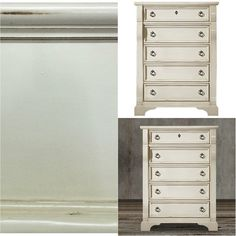 This classic chest of drawers makes it a comfortable addition to any space with its distressed details, rub through highlighting, heavy top with framed end panels, pewter rings and keyhole accents. This attractive and spacious chest is ideal for a bedroom with its metal glides with built-in stops so you can easily access the contents, dust-proof coating for the lower drawers,felt-lined top drawer and english dovetail construction with solid wood sides and backs. The best thing is that it has…