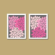 Bold Colorful Navy Pink Floral Flower Burst Set of 2 por trmDesign