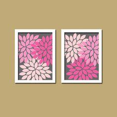 Bold Colorful Navy Pink Floral Flower Burst Set of 2 por trmDesign