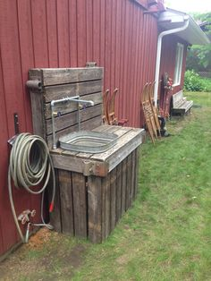 Outdoor sink from old dock sections.  Perfect for cleaning fish or anything!