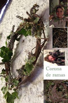 Coronas decorativas con ramas a las q puedes añadir hojas, flores, frutos....lavanda, enredadera