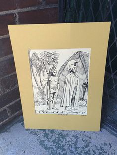 Vintage Pen and Ink Folk Drawing Dated 1978 Depicting Hawaiian