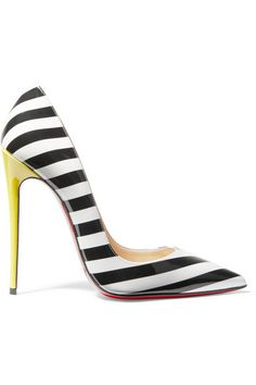 Christian Louboutin | So Kate 120 striped patent-leather pumps | NET-A-PORTER.COM
