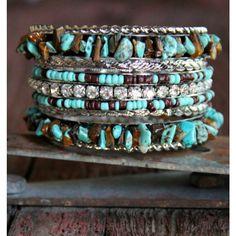 Turquoise Chip & Rhinestone Bangle Bracelet