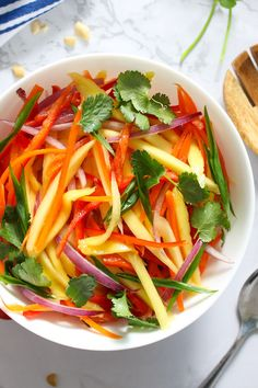 Closeup of Mango Salad served in a white salad bowl makes an attractive side dish Thai Mango Salad, Mango Salat, Green Mango Salad, Mango Recipes, Asian Recipes, Juicer Recipes, Vegetarian Recipes, Cooking Recipes, Healthy Recipes