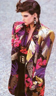 Linda Evangelista, Harper's Bazaar Italia, September 1984, oh my, I do not miss shoulder pads.