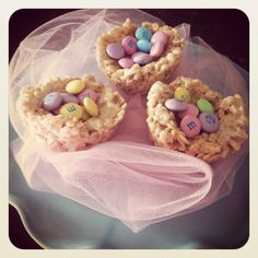 Sweet lil birds nest :) perfect treat for everyone! I used the Rice Crispy treat recipe from the cereal box, pastel bunny marshmallows and used muffin tins to mold the nests & added M's to represent eggs :) Happy Easter!!!