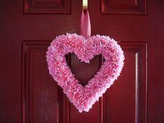 Heart wreath...styrofoam wreath, fabric squares, elmers glue and a pencil...http://judysturman.typepad.com/in_his_grip/2009/01/easy-heart-wreath.html