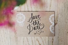 Vintage, rustic, save the date postcard. Beautiful calligraphy. Hand-stamped :) www.allieruthdesign.com