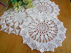 3 Crocheted Doilies Crocheted Doily White Vintage Doilys Doilies  Lot  D100 by TreasureCoveAlly on Etsy