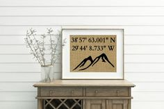 Custom Coordinates Print - Burlap Print - Mountain Print - Personalized Coordinates - Mountain Decor - Hiking Gift - Gift For Hiker
