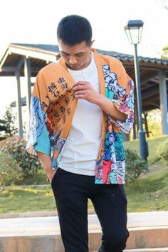 This unique Haori features a Japanese fantasy world with strange characters, landscapes and objects, along with Japanese poetry. Kyarakuta Haori, Men's Haori, Japanese Haori, Women's Style, Casual Outfit, Street Style, Trendy Outfit for Girls, Japanese Fashion, Asian Style, Classy Dress, Fashion Blogger, Aesthetic Outfit, Tokyo Fashion, Traditional Fashion! #haori #japanesehaori #casualdress #tokyofashion #kokorostyle