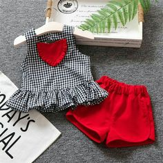 Basacomie 5 sets lot children s clothing 2018 girl s clothing set plaid t shirt shorts 2 pcs summer sets 033002 Baby Dress Design, Baby Girl Dress Patterns, Kids Dress Wear, Little Girl Dresses, Baby Girl Fashion, Kids Fashion, Baby Frocks Designs, Kids Frocks, Cute Baby Clothes