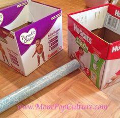 Repurpose diaper boxes using contact paper